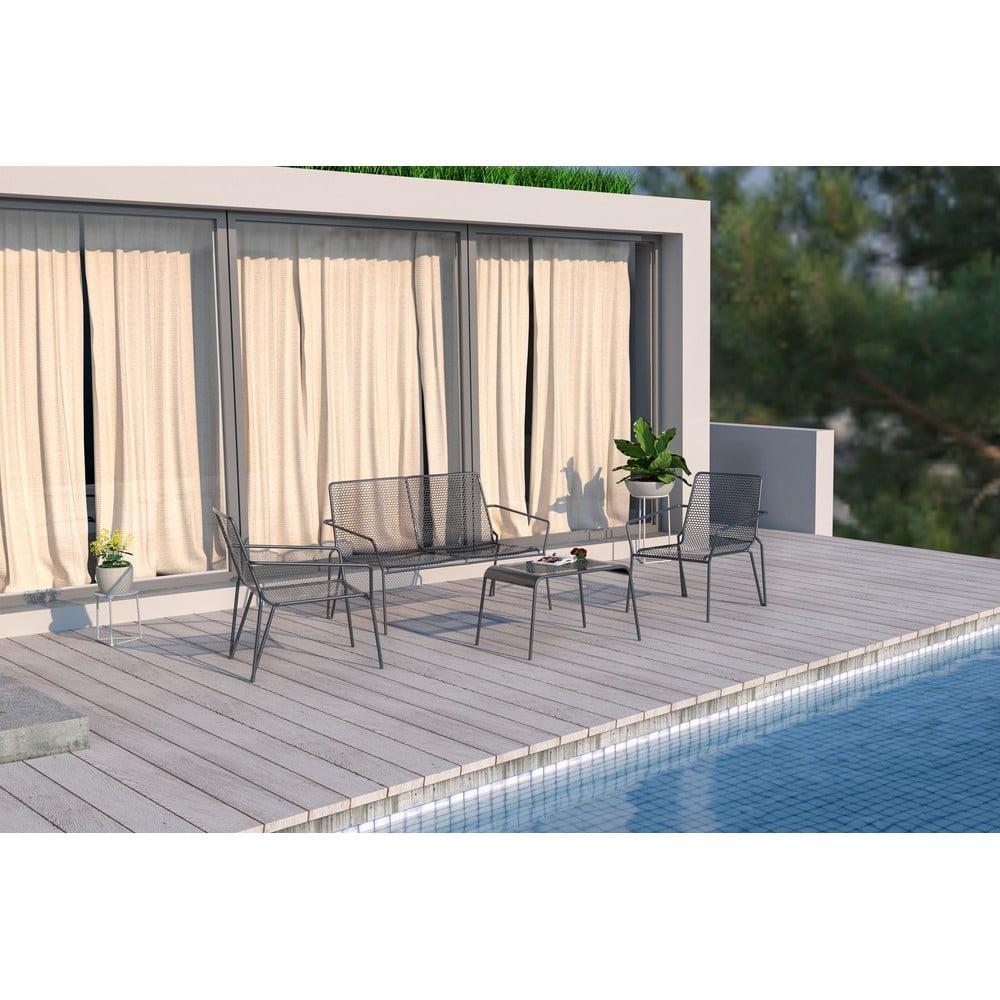 Sivá kovová súprava záhradného nábytku Ezeis Ambroise