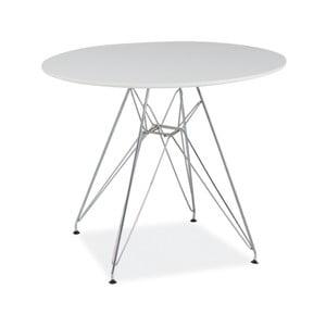 Biely odkladací stolík s oceľovou konštrukciou, ⌀74cm