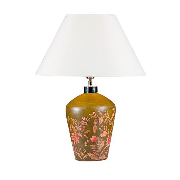 Stolová lampa Maľované zelené sklo