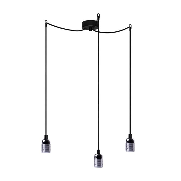 Závesné svietidlo s 3 čiernymi káblami a striebornou objímkou Bulb Attack Uno Basic