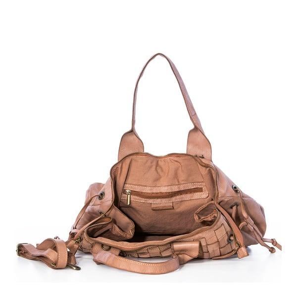 Kožená kabelka Federica Bassi Ginny, béžová