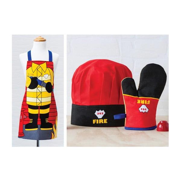 Detská sada zástery, čapice a kuchynskej rukavice Fireman