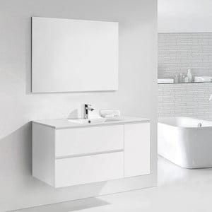Kúpeľňová skrinka s umývadlom a zrkadlom Happy, odtieň bielej, 120 cm