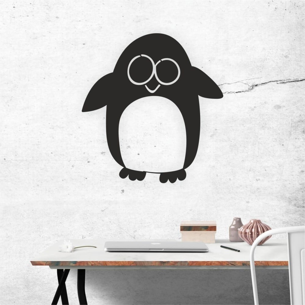 Čierna nástenná samolepiaca dekorácia North Carolina Scandinavian Home Decors Penguin V2, 52 × 55 cm