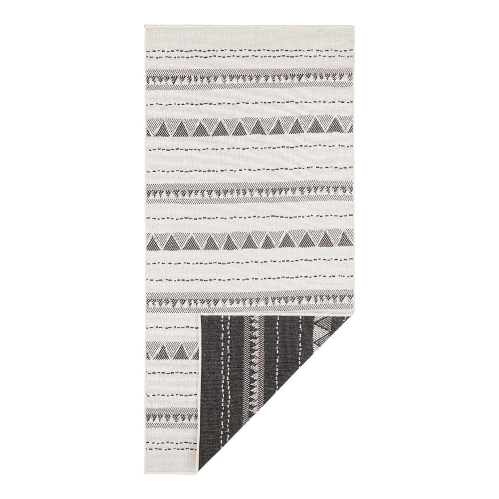 Čierno-krémový vonkajší koberec Bougari Bahamas, 80 x 350 cm