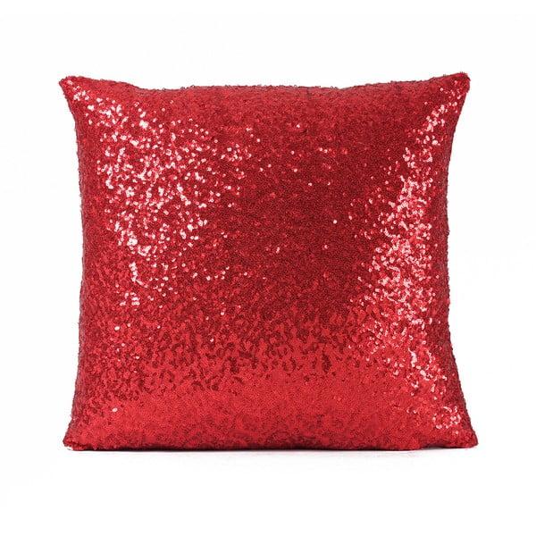 Flitrovaný vankúš Shiny Red, 43x43 cm