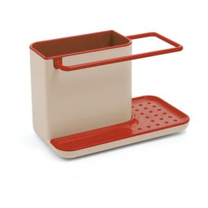 Kuchynský stojan na umývacie prostriedky Caddy Sink Tidy, šedý/červený