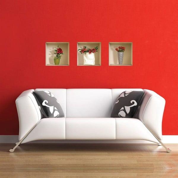 3D samolepky na stenu Nisha Roses, 3 ks