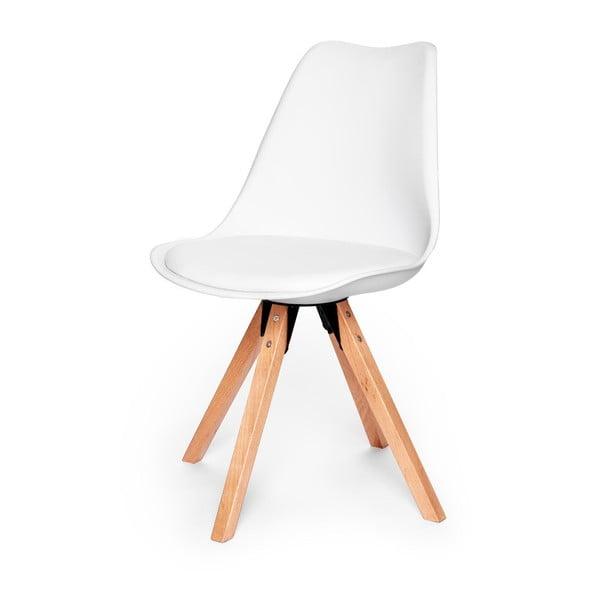Biela stolička s podnožím z bukového dreva loomi.design Eco