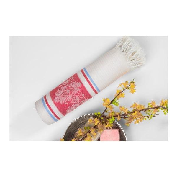 Červeno-béžová hammam osuška Deco Bianca Loincloth Hatice Pink, 80x170cm