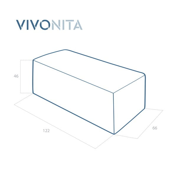 Svetlosivý puf Vivonita Grace Linen, 122 × 46 cm