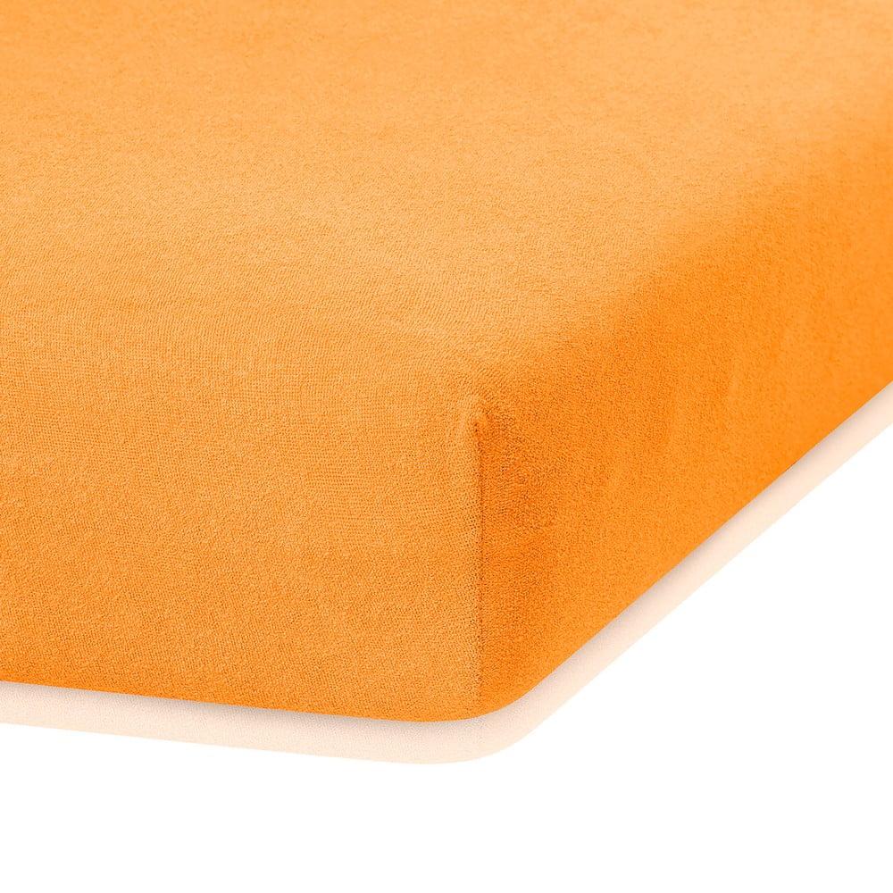 Oranžová elastická plachta s vysokým podielom bavlny AmeliaHome Ruby, 200 x 120-140 cm