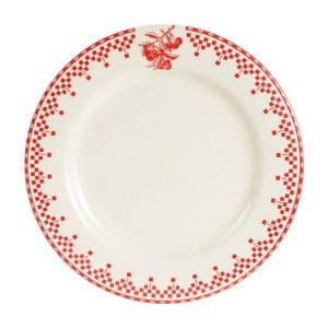 Červeno-biely jedálenský tanier Comptoir deFamille Damier, 27cm