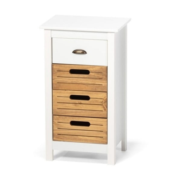 Biela skrinka z borovicového dreva so 4 zásuvkami loomi.design Ibiza