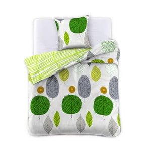 Obliečky z bavlneného saténu DecoKing Greenleaf, 135×200cm + obliečka na vankúš 80 x 80