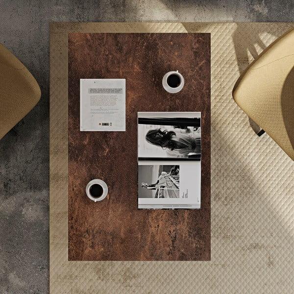 Hnedý konferenčný stolík s čiernymi nohami TemaHome Gleam, 120cm