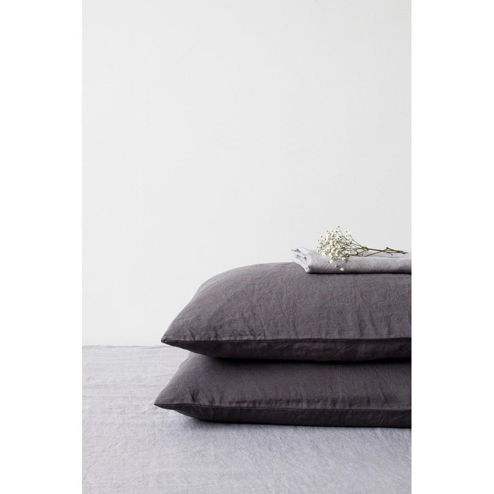 Tmavosivá ľanová obliečka na vankúš Linen Tales, 70 x 90 cm