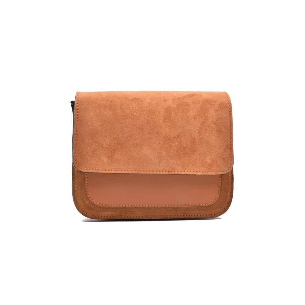 Koňakovohnedá kožená kabelka Mangotti Zoe