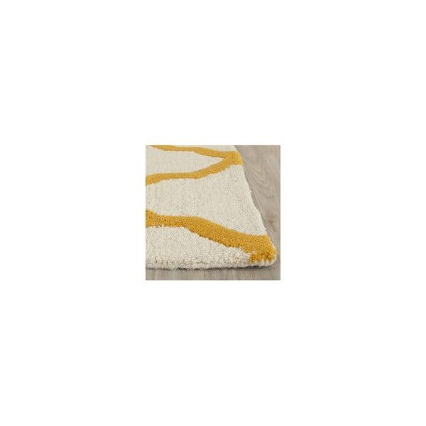 Vlnený koberec Ava 152x243 cm, biely/oranžový