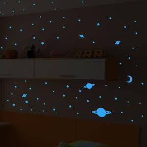 Sada 150 modrých nástenných svietiacich detských samolepiek Ambiance Universe