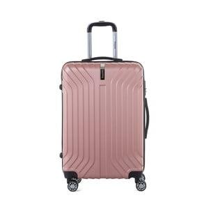 Svetloružový cestovný kufor na kolieskách s kódovým zámkom SINEQUANONE Elisabeth, 71 l