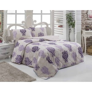 Set prešívanej prikrývky a dvoch obliečok na vankúš Myrus Lilac, 200x220 cm