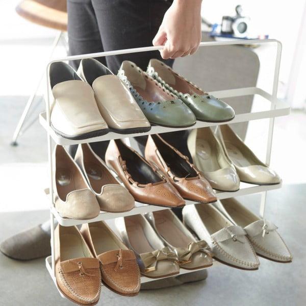 Biely široký stojan na topánky Yamazaki Tower Shoe Rack