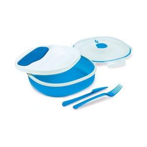 Modro-biely obedový box s príborom a chladičom Snips Lunch