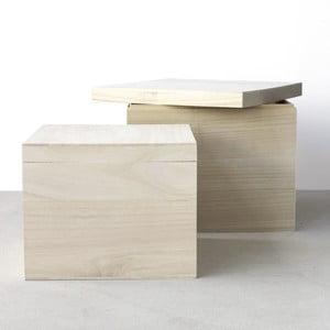 Sada 2 drevených boxov Boite de rangement