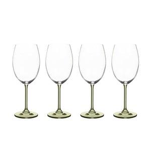 Sada 4 pohárov na víno zo zeleného krištáľového skla Bitz Fluidum, 450 ml
