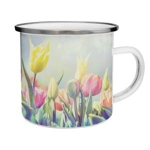 Smaltovaný hrnček s tulipánmi TinMan, 200 ml