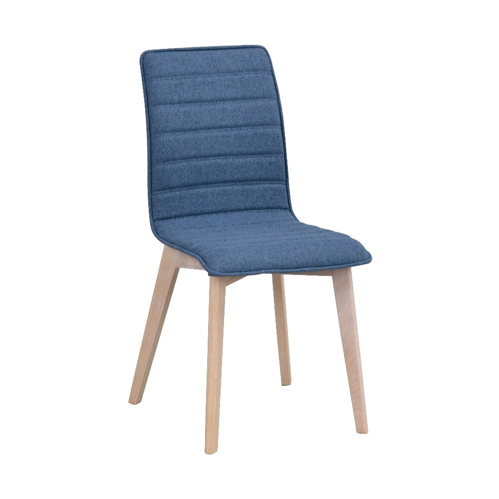 Modrá jedálenská stolička so svetlohnedými nohami Folke Grace
