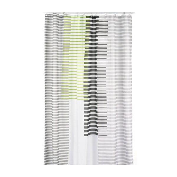 Sprchový záves Lamara, sivý/zelený, 180x200 cm