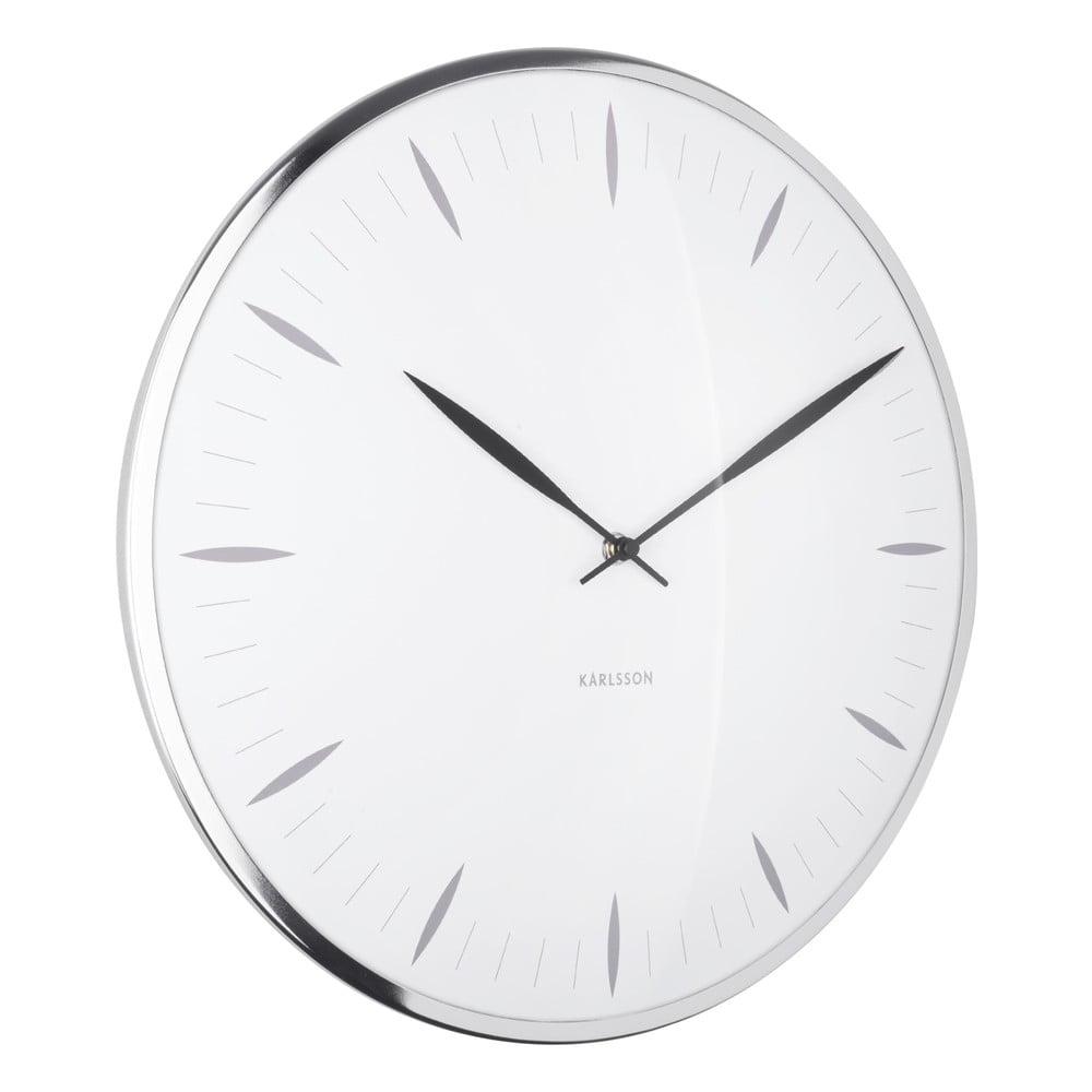 Biele sklenené nástenné hodiny Karlsson Leaf, ø 40 cm