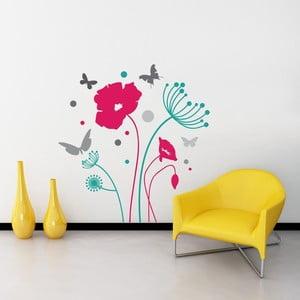 Samolepka na stenu Butterflies and Flowers