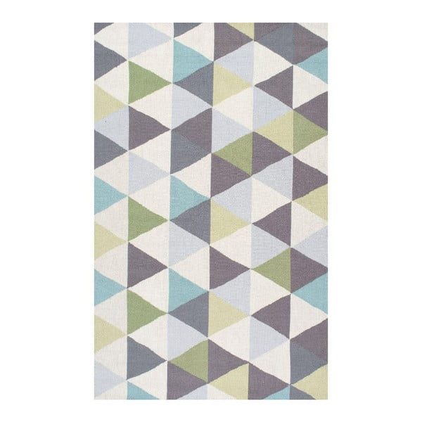 Vlnený koberec Triangles Green, 152x244 cm