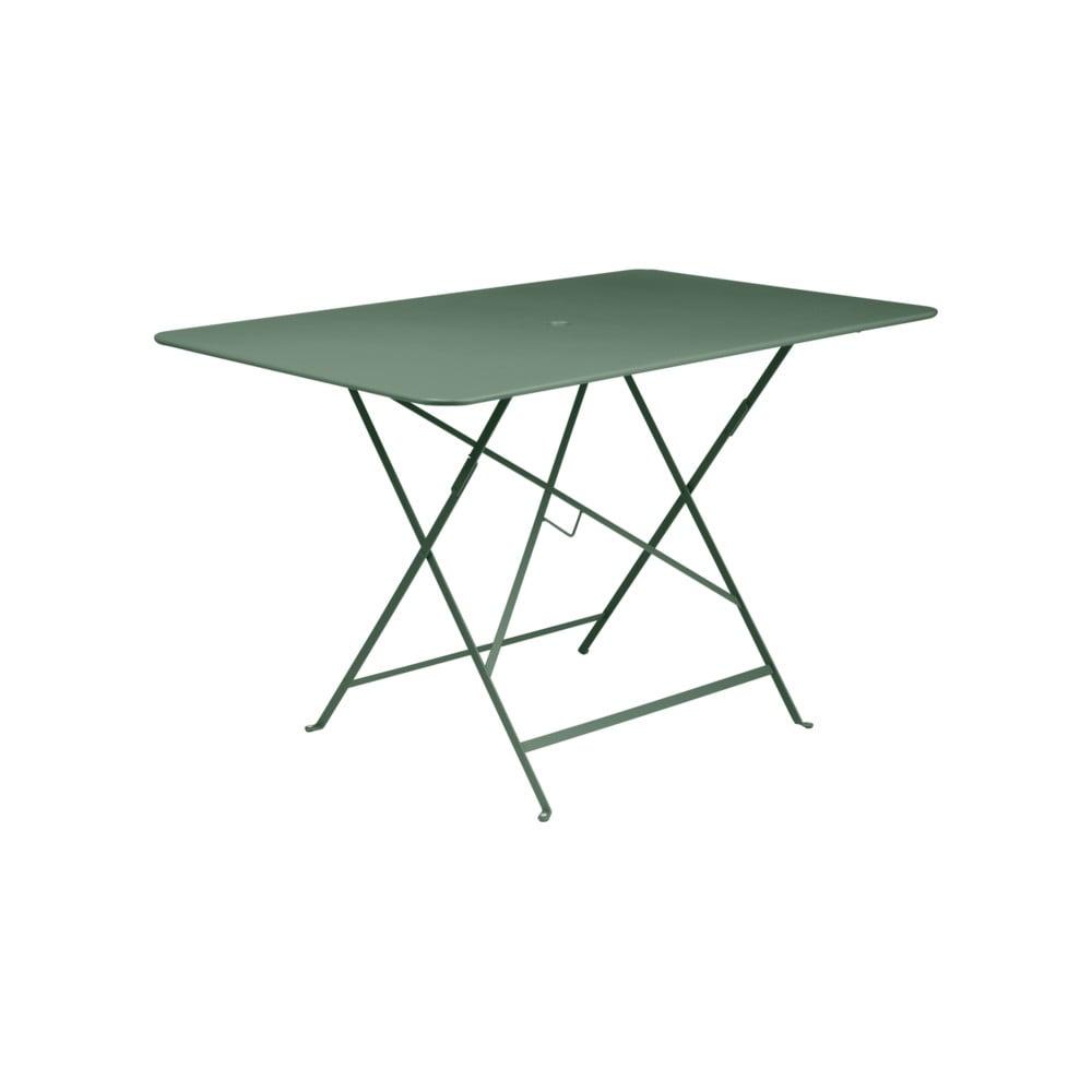 Svetlozelený kovový skladací záhradný stolík Fermob Bistro, 117 × 77 cm