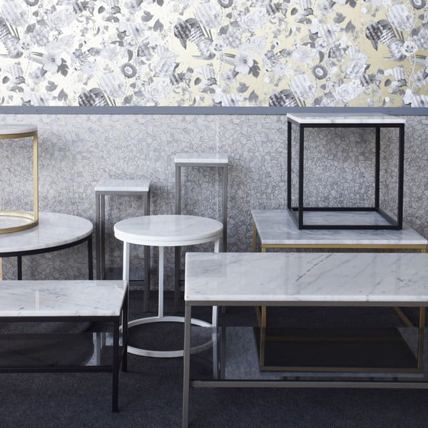 Mramorový TV stolík s čiernou konštrukciou RGE Accent, 105 x 38 cm