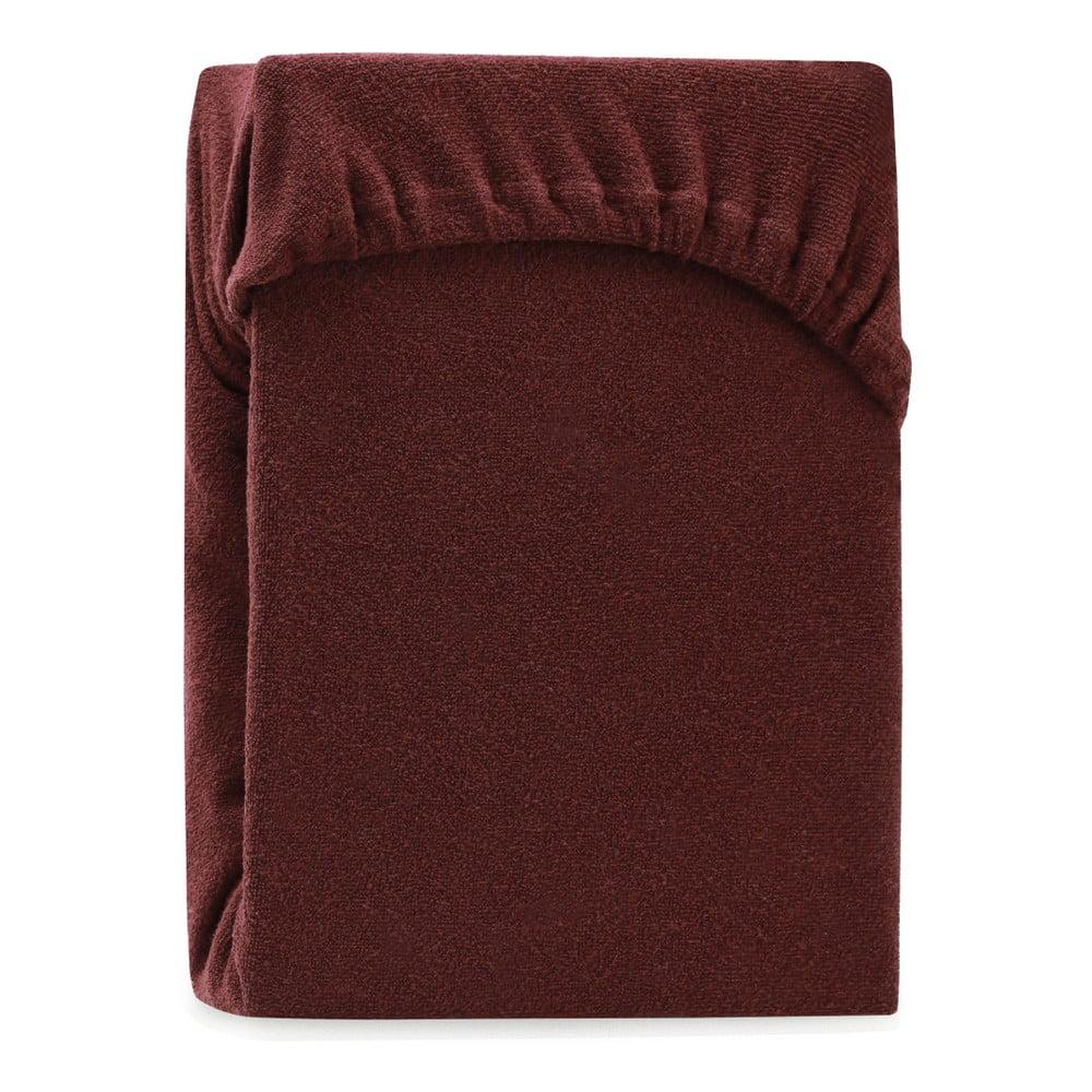 Hnedá elastická plachta na dvojlôžko AmeliaHome Ruby Brown, 220-240 x 220 cm