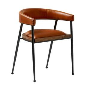 Koňakovohnedá kožená jedálenská stolička Fuhrhome London