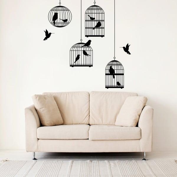 Samolepka na stenu Vtáky a klietke, 70x50 cm