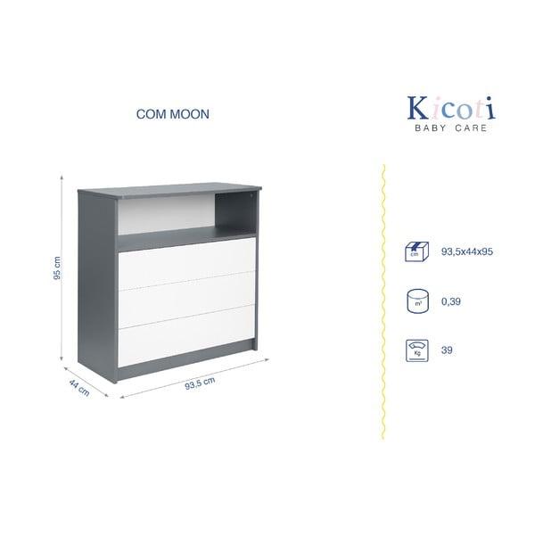 Sivo-biela komoda KICOTI Moon