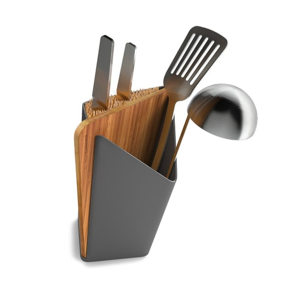 Stojan na nože a kuchynské nástroje s doskou na krájanie Utensil/Knife Holder + Board, sivý