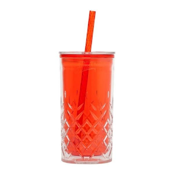 Červený pohárik so slamkou Aladdin, 470ml