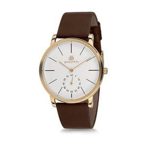 Pánske hodinky s hnedým koženým remienkom a bílým ciferníkom Bigotti Milano