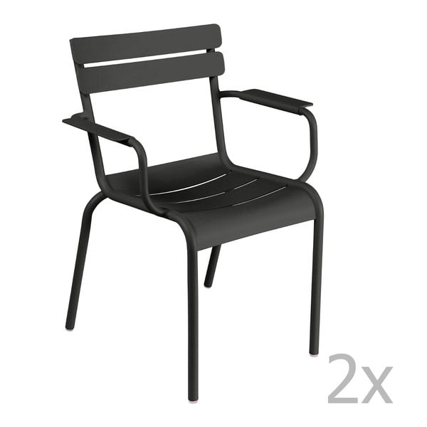 Sada 2 čiernych stoličiek s opierkami na ruky Fermob Luxembourg