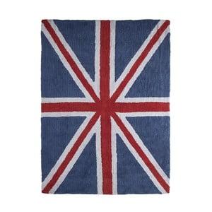 Tmavomodrý bavlnený ručne vyrobený koberec Lorena Canals UK, 120 x 160 cm