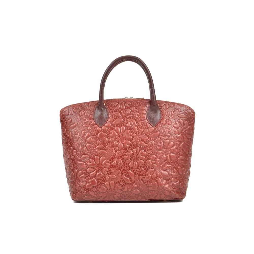Ružová kožená kabelka Anna Luchini Bloom Rosso
