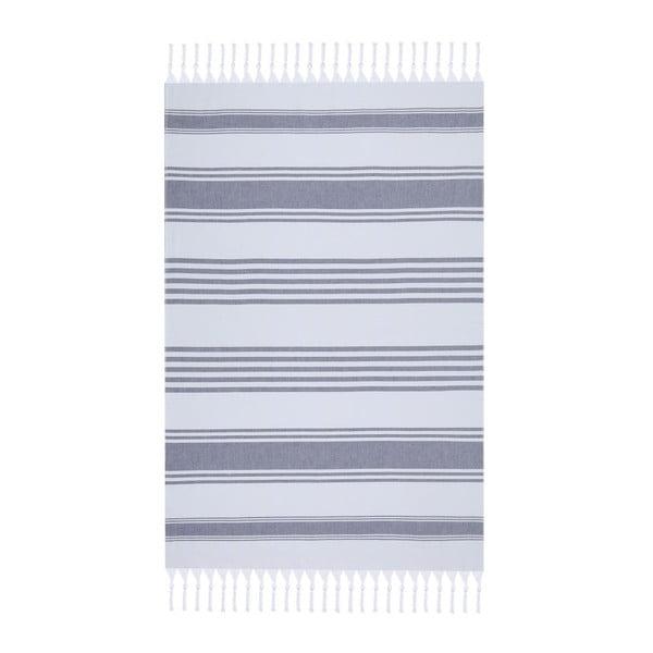 Bielo-modrá plážová osuška Fouta, 170 x 100 cm