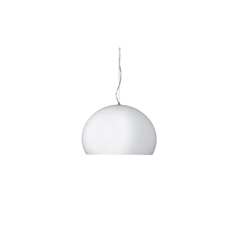 Lesklé biele stropné svietidlo Kartell Fly, ⌀ 38 cm